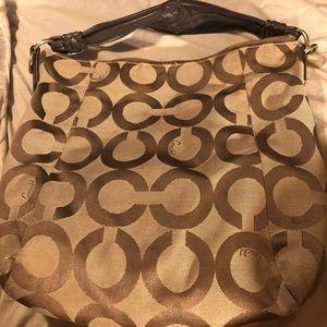 Coach handbag beige w/  brown & gold accents